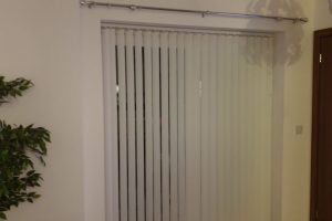 vertical white blinds installation front