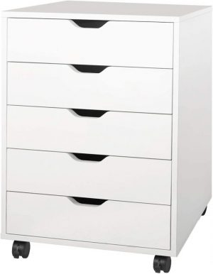 Mobile chest of drawers on wheels